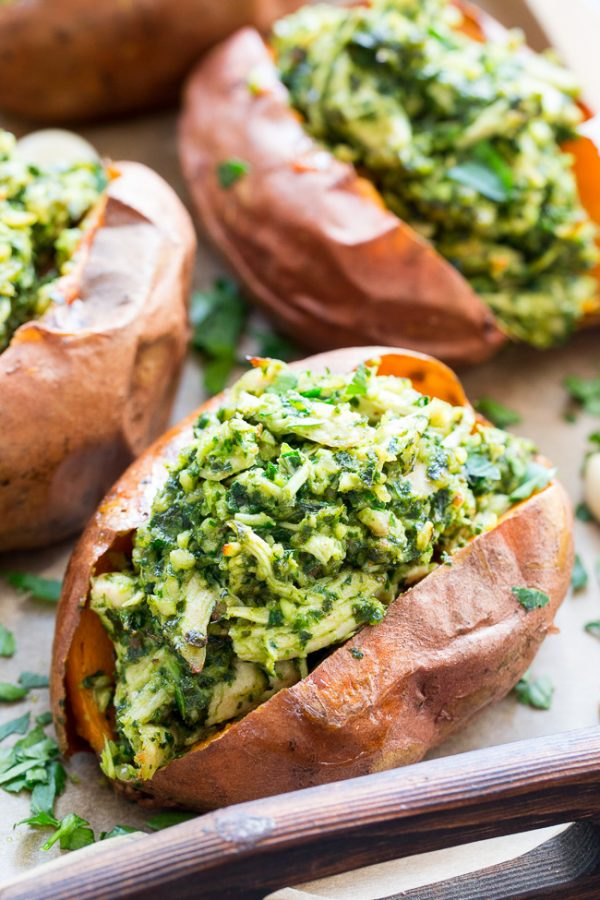 Chicken Pesto Stuffed Sweet Potatoes